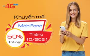 mobifone khuyen mai 50 the nap thang 10 2021